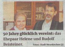 50 Jahre Verheiratet: Heli und Rudi Beisteiner. quelle: Bezirksblätter Neunkirchen, 19./20. Februar 2014