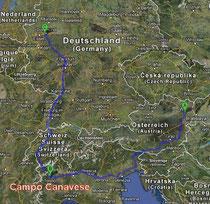 Für Wiener und Dortmunder gleich weit: Campo Canavese. Image: GoogleMap