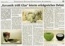 Keramik trifft Glas - Artikel Niederelbe Zeitung 09.06.09
