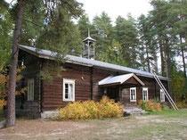 Altes Blockhaus in einem Freilichtmuseum