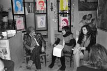 in foto: lo scrittore Agostino Portanova, Elisa Martorana e l'attrice Noemi Sanfilippo. di sfondo l'istallazione