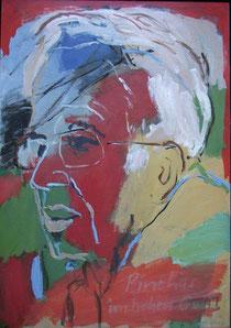 Portrait von Pinchas Erlanger im 'hohen Galil' 2006, 100 x 70 cm, Öl-Lwd., Küstlerin: Marlis Glaser, www.marlis-glaser.de