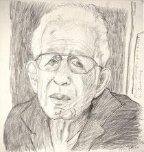 Portrait von Pinchas Erlanger, geb. als Peter Erlanger 1926 in Ravensburg, 45 x 45 cm, Bleistift, 2006., Küstlerin: Marlis Glaser, www.marlis-glaser.de