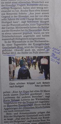 """""""Berichterstattung"""" über eine """"ethnische Minderheit"""" aus der Slowakei, Nürtinger Zeitung, S. 29, vom 26. September 2014, in der Rubkrik """"Nürtingen und sein Umland"""""""