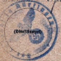 Stempel des Landratsamtes Nürtingen auf dem Wandergewerbeschein für Ferdinand Reinhard(t), Kreisarchiv Esslingen (abgekürzt KrAES) D 1 Bü. 532, alle Rechte vorbehalten!