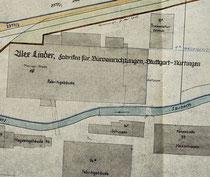 """Lager Linder, unten links ein Teil des Areals der heutigen """"Alten Seegrasspinnerei"""", Quelle: Stadtarchiv Nürtingen, alle Rechte vorbehalten!"""