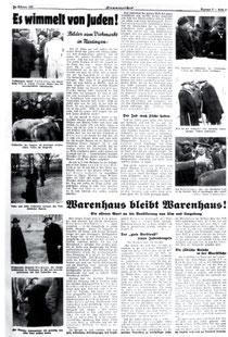 """Boykotthetze gegen die jüdischen Viehhändler auf dem Nürtinger Viehmarkt im NS-Blatt """"Flammenzeichen"""", Februar 1937, aus WERNER 1998, S. 93"""