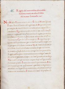 Le prime Costituzioni manoscritte