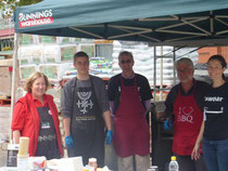 All smiles at Easter - (l-r) a friendly lady from Bunnings, Hamish, Dirk, Trevor, and Karen.