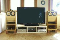 桧(無節)集成材の自作テレビ台
