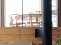 タモ積層材のテーブル天板 裏側から