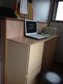 メルクシパイン集成材のキャビネット上の作業台天板