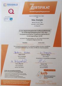 Zertifikat über tätigkeitsbegleitende Aufbauqualifizierung über 140 Stunden