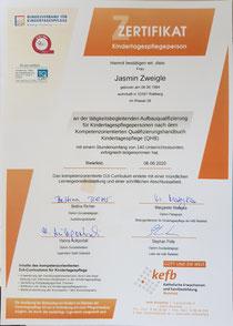 Zertifikat über tätigkeitsbegleitende Aufbauqualifizierung von 140 Stunden