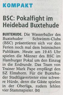 Wasserball: Pokalfight im Heidebad. Buxtehuder Tageblatt vom 11.07.2014