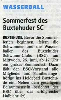 Sommerfest des Buxtehuder SC. Buxtehuder Tageblatt vom 25.06.2013