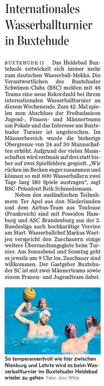 Internationales Wasserballturnier in Buxtehude. Hamburger Abendblatt vom 05.09.2013