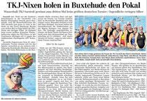 Sarstedtes Wasserballerinnen gewinnen zum dritten Mal in Folge in Buxtehude. Hildesheimer Allgemeine Zeitung/Sarstedter Anzeiger vom 11.09.2013