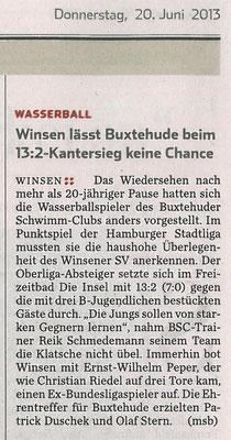Winsen lässt Buxtehude beim 13:2-Kantersieg keine Chance. Hamburger Abendblatt vom 20.06.2013