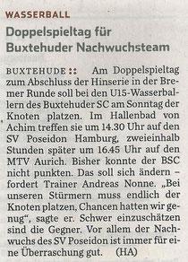 BSC-Wasserball U15, Hamburger Abendblatt vom 15.03.2014