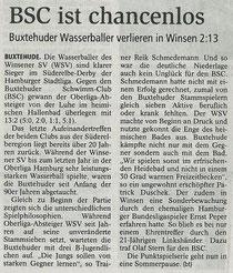 BSC ist chancenlos gegen Winsen. Buxtehuder Tageblatt vom 20.06.2013