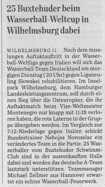 25 Buxtehuder beim Wasserball-Weltcup in Wilhelmsburg dabei. Hamburger Abendblatt vom 09.12.2013