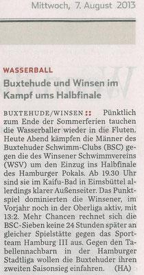 Wasserball/ Buxtehude und Winsen im Kampf ums Halbfinale, Hamburger Abendblatt vom 07.08.2013