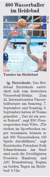 Vorbericht Wasserballturnier. Neue Buxtehuder Wochenblatt vom 04.09.2013