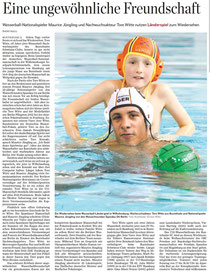 Wasserball-Nationalspieler Maurice Jüngling und Nachwuchsakteur Tore Witte nutzen Länderspiel zum Wiedersehen. Hamburger Abendblatt vom 14.12.2013