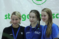 100 m Brust: Siegerehrung mit Lina Hartwig (3. Platz)