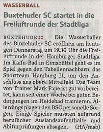 Buxtehuder SC startet in die Freiluftrunde der Stadtliga. Hamburger Abendblatt vom 22.05.2014