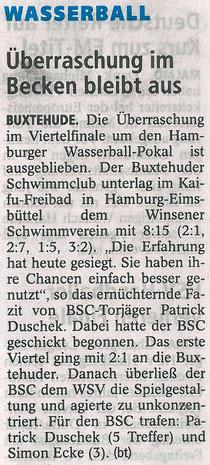 Überraschung im Becken bleibt aus. Buxtehuder Tageblatt vom 31.08.2013