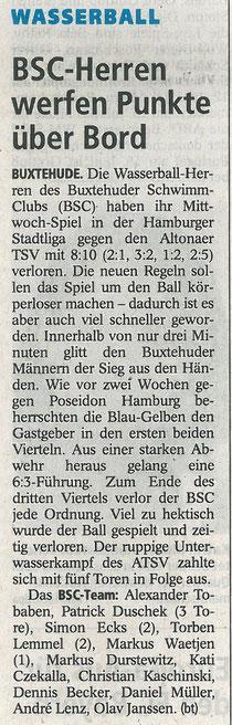 BSC-Herren werfen die Punkte über Bord. Buxtehuder Tageblatt vom 04.04.2014
