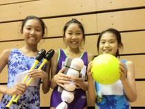新体操女子9ブロックU-12研修会@山梨で頑張った3人!左から希実ちゃん、菜摘ちゃん、馨恋ちゃん。