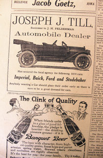 This advertisement announcing that J.J. Till has secured a local auto agency appeared in the March 17, 1914 edition of the Bellevue Herald.