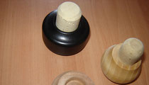 Round or Cut Shapped Cork Stopper with wooden cap