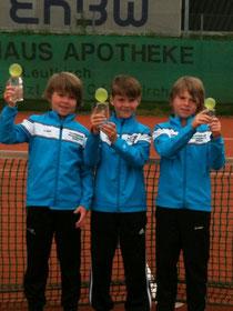 Plätze 1-3 in der U10:v.l. Timo Arnold (Zweiter), Max Reinhart (Sieger), Sven Arnold (Dritter)