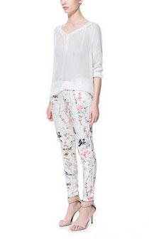 Oriental Bird Print Skinny Trousers