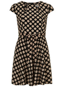 Black and beige spotty dress