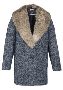 F&F fur collar cocoon coat