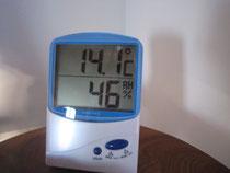 室内温度温度14.1℃ 温度差15.8度