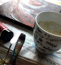 Bild Pinsel Kaffeebecher