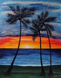 Acrylbild Palmen mit Sonnenuntergang