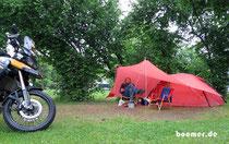 Regen-Camp, darin haben wir Übung bekommen