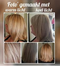 Hier is het verschil goed te zien met welk licht de foto's gemaakt worden. Door het licht dat op de haren schijnt lijkt de kleur anders, niet alleen op een foto zie je verschil maar dit zie je ook thuis, buiten of ergens anders!