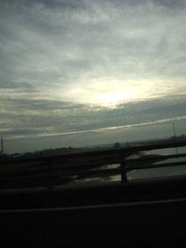 今朝は、曇り。