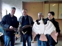 Vogelbauer Bernhard Heisterkamp, Entwurfsverfasser Manfred Gwosdz mit unserem Königspaar