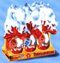 1977 Verkafs-Display mit 6 große Kinder Schokolade Überraschung (KSÜ)