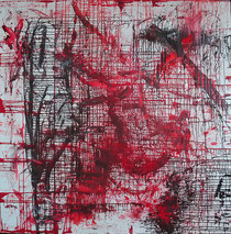 """WE in RED LX"" ( Nr. 60!), 2020, oil, pigments on canvas, 2 meters × 2 meters, copyright Christina Mitterhuber"