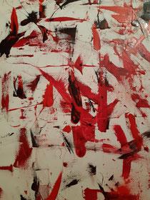 WE in red XLII, Öl und Pigment auf Leinwand, 75 cm × 115 cm, Copyright Christina Mitterhuber